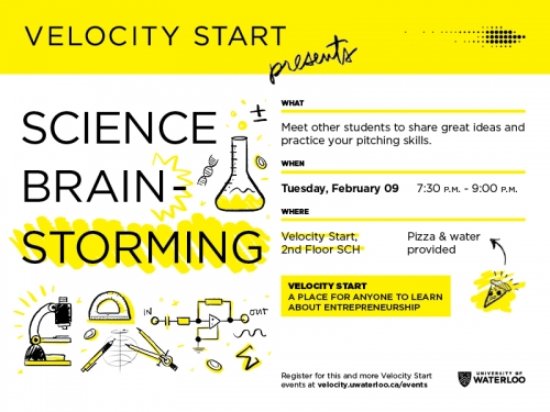 Velocity Start Science Brain-Storming event poster