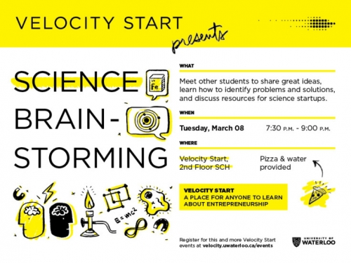 Velocity Start Science Brainstorming poster