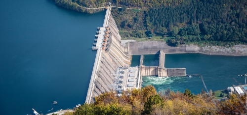 Hydroelectric dam and reservoir.