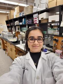 student selfie in the lab