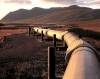 Pipeline towards sunset and mountains.