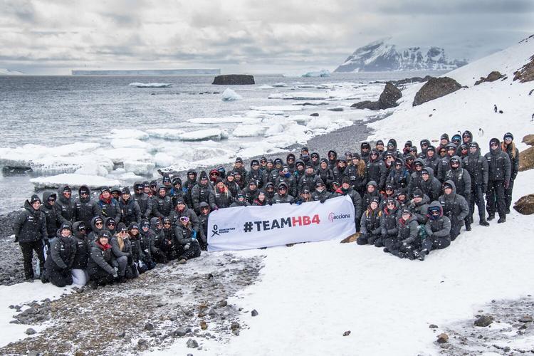 Homeward Bound 4 group at Brown Bluff, Antarctica