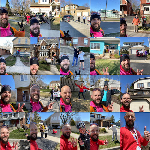 Collage of selfies with supporters along the run.