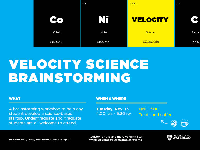 Velocity Science Brainstorming event poster with description, date and location