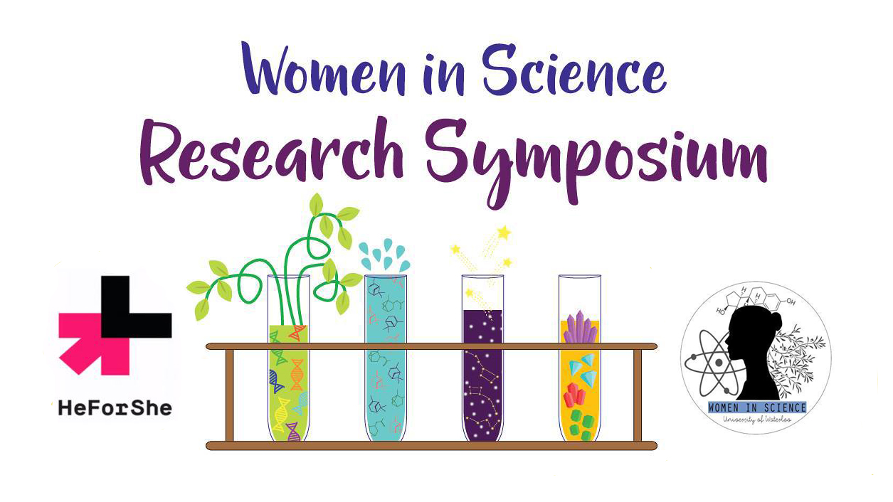 Women in Science Research Symposium poster with test tubes