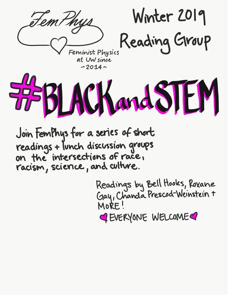 FemPhys #BlackandSTEM Winter 2019 reading group poster
