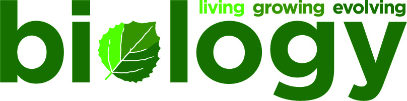 "Department of Biology logo, ""living, growing, evolving""."