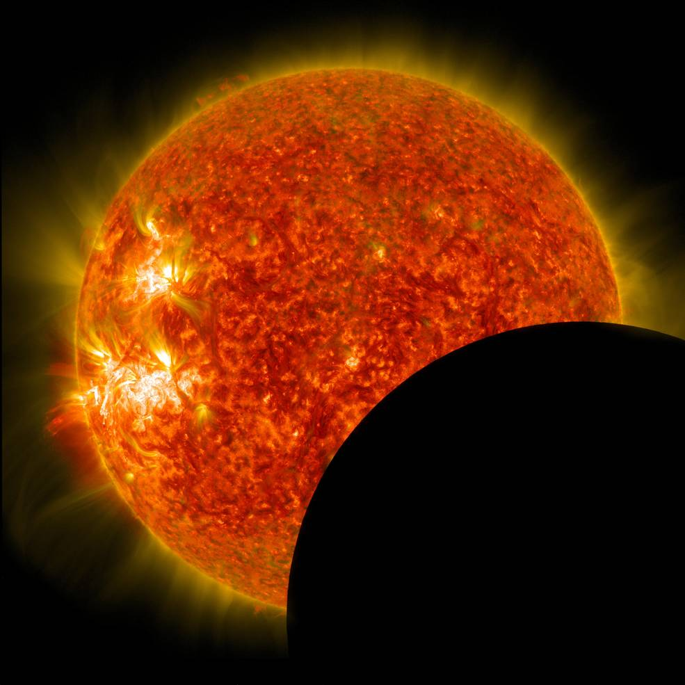 Close-up of moon partially covering the sun. Credit: NASA