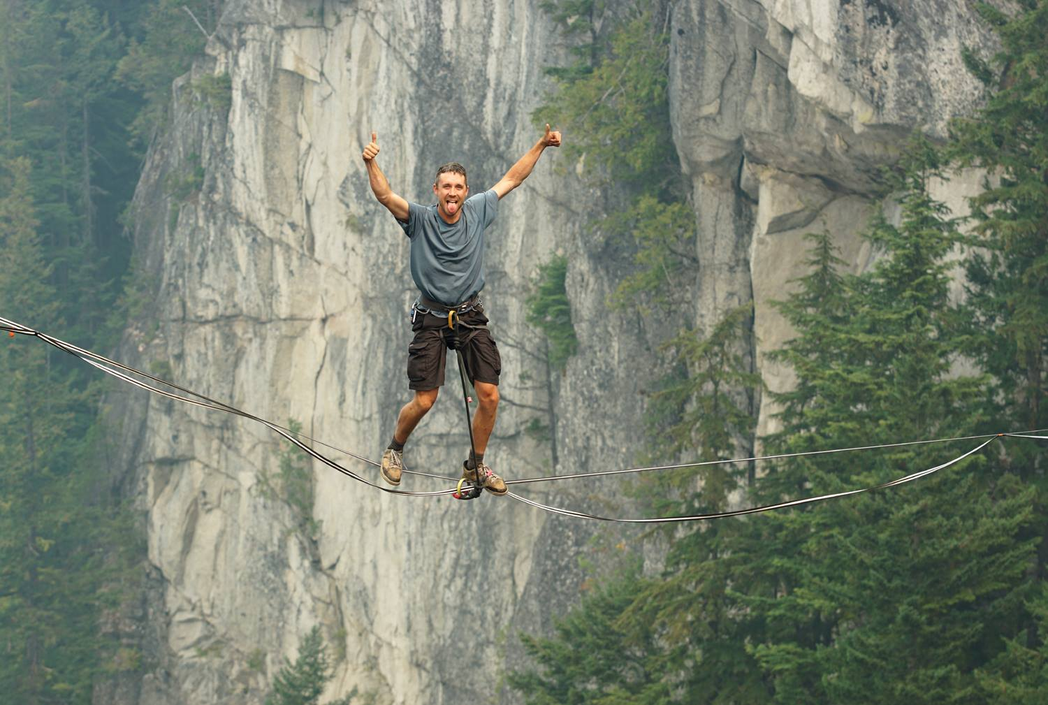 Brent Plumely on a highline rope