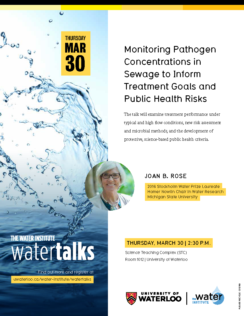 Announcement poster for WaterTalks with Joan B. Rose.