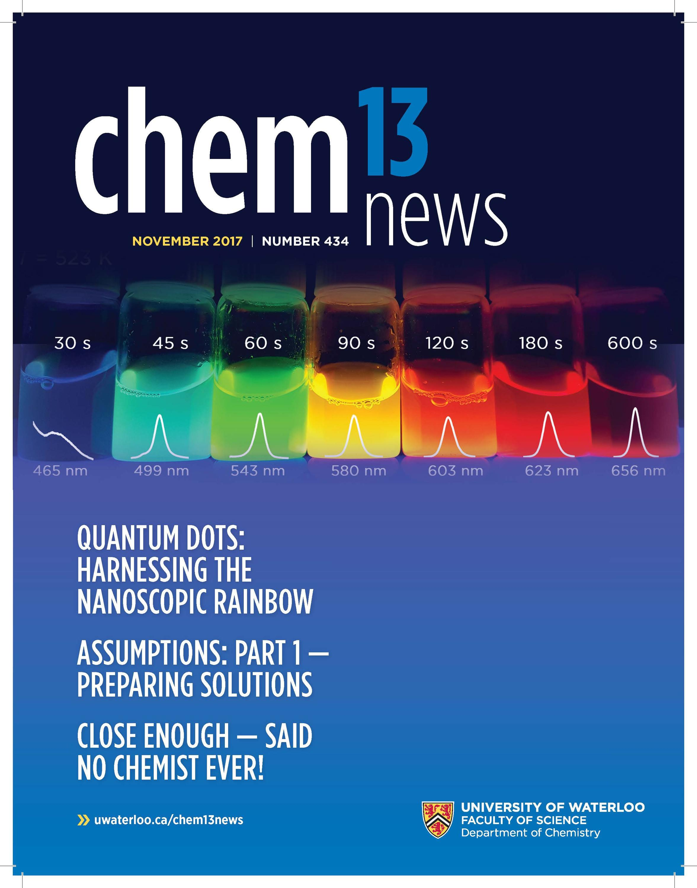 Chem13 News cover featuring the quantum nanodots experiment.