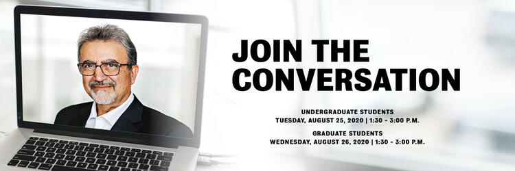 Join the Conversation Undergrad and Grad student town halls event dates and times with image of UW President on laptop screen.