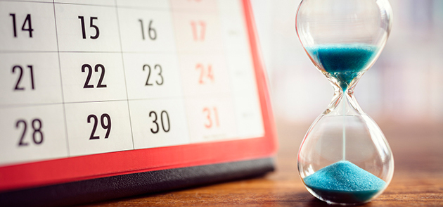 Calendar and sand timer