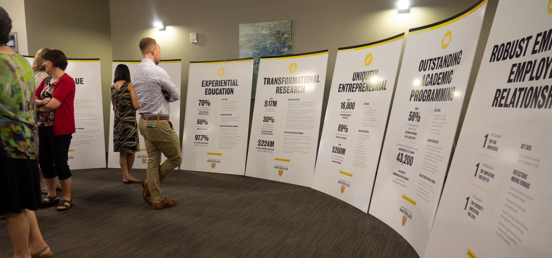 Crowd reading posters of various UWaterloo strategic themes