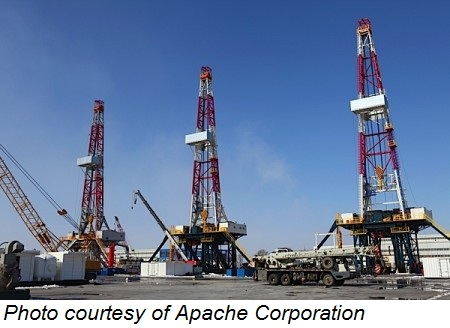 Rigs drilling for oil or natural gas. Photo courtesy of Apache Corporation.