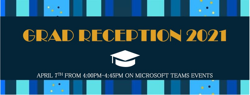 Grad Reception 2021 graphic with blue lines and a mortarboard hat