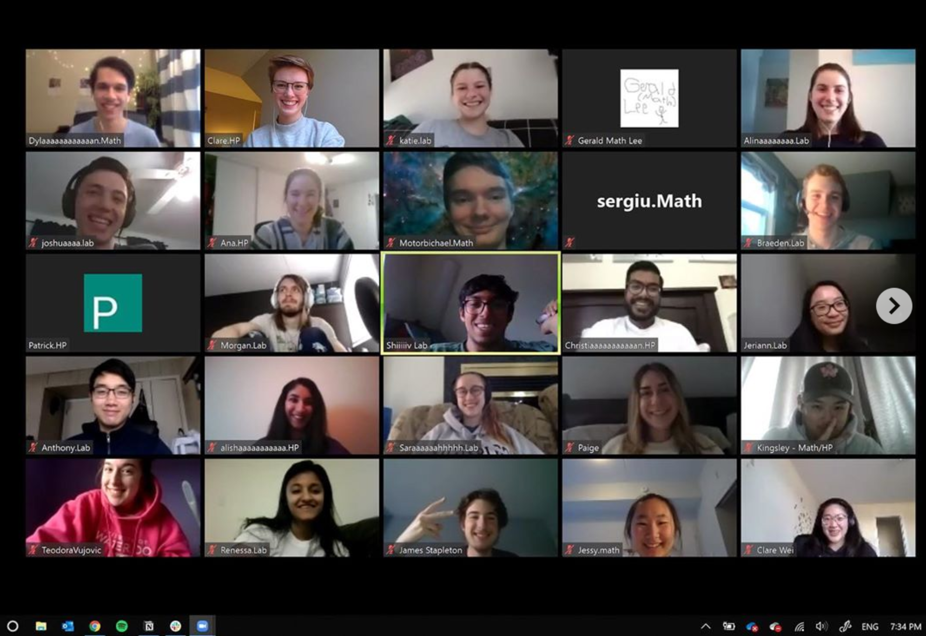 iGEM team picture, showing 25 of the team members in a zoom call