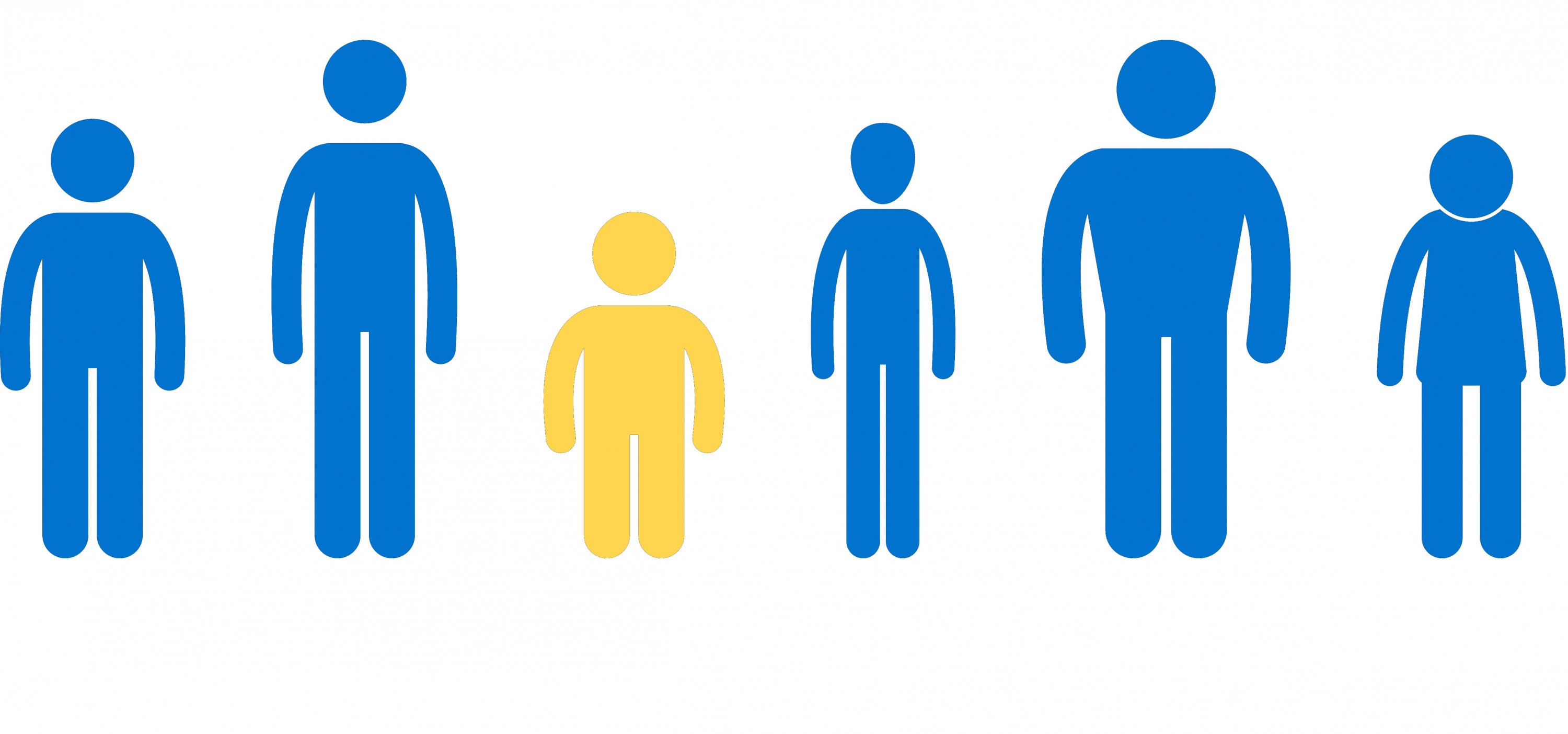 Stick figures in blue with the shortest figure highlighted in gold.