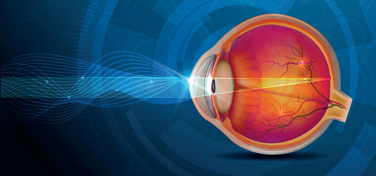 stock image of wavy lines going to back of the eye through the pupil