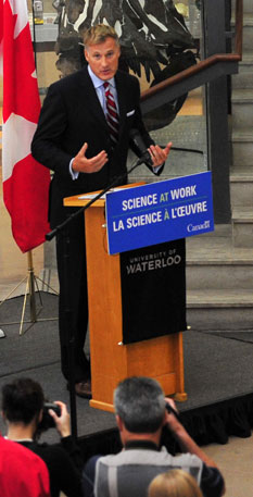 Maxime Bernier giving speech about antibiotics and cancer