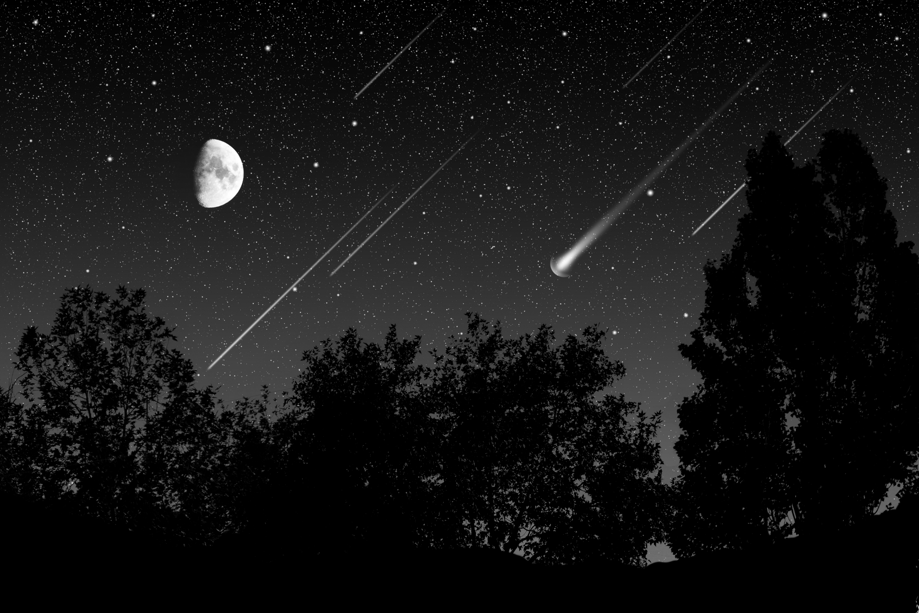 night sky with meteor shower and moon