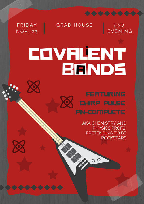 Event poster for Covalient Bands featuring chemistry and physics profs
