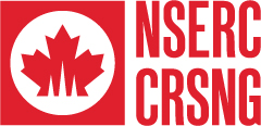 Red logo: Stylized maple leaf in a square with NSERC CRSNG beside.