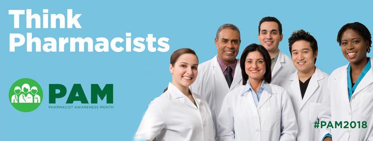 Think Pharmacists #PAM 2018. Smiling pharmacists.