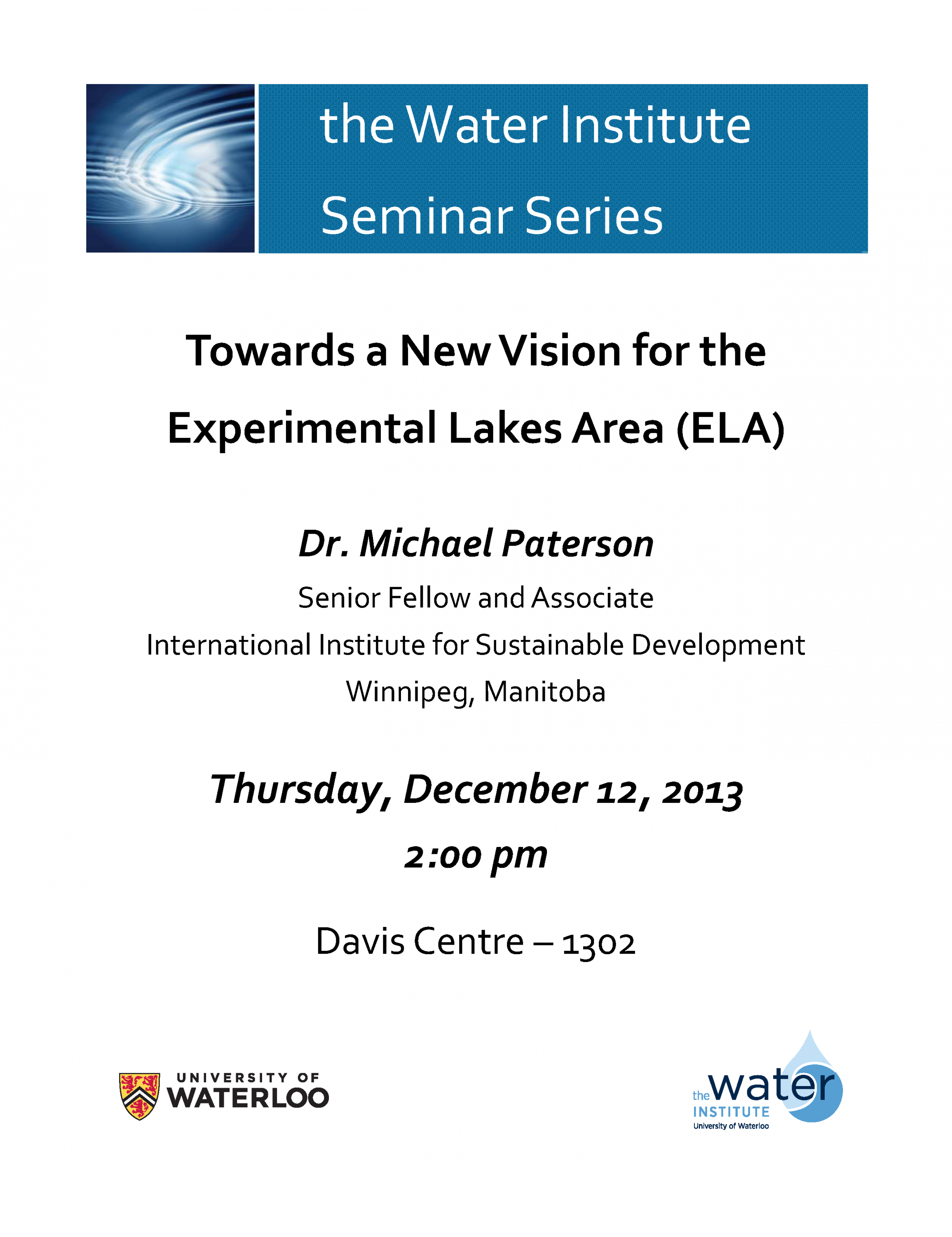 Towards a New Vision for the Experimental Lakes Area (ELA) poster