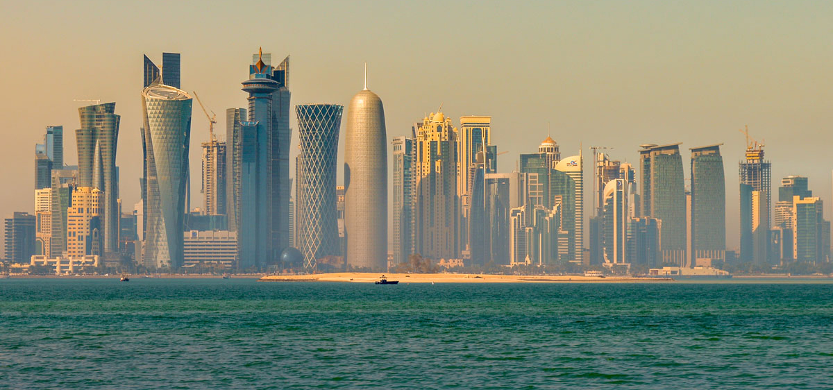 Doha, Qatar skyline in the afternoon.