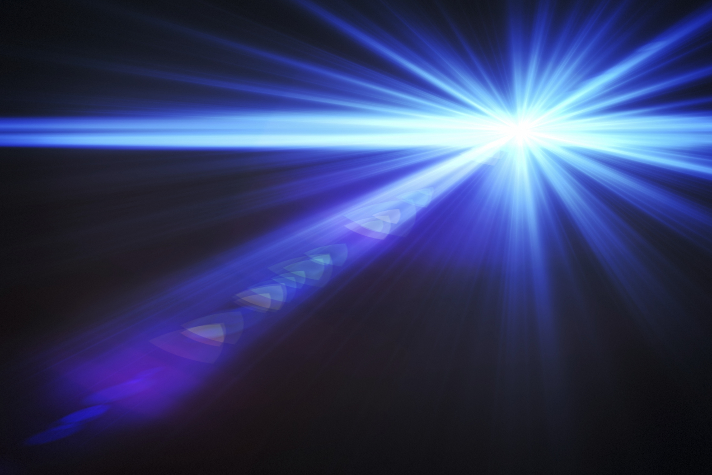 Image of diffracting light beam.