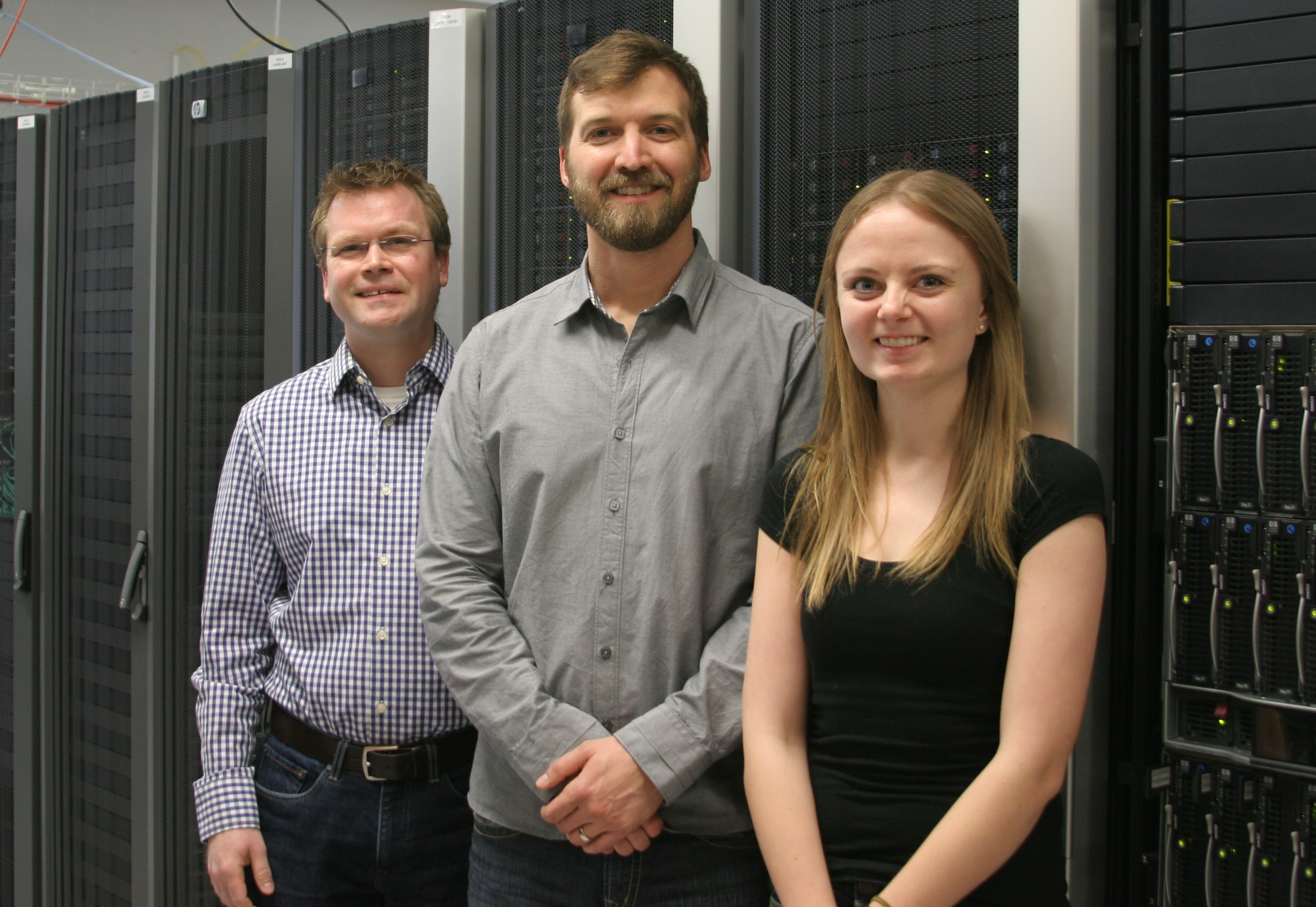 Waterloo Physics and Astronomy Prof. David Hawthorn, Prof. Roger Melko, and doctoral student Lauren Hayward