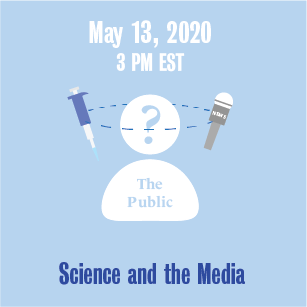 May 13, 2020 3 PM Science in the Media with a syringe and microphone icons