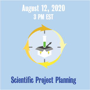 August 12, 2020 3:00 PM Scientific Project Planning with illustration of a test tube and box in a circle.