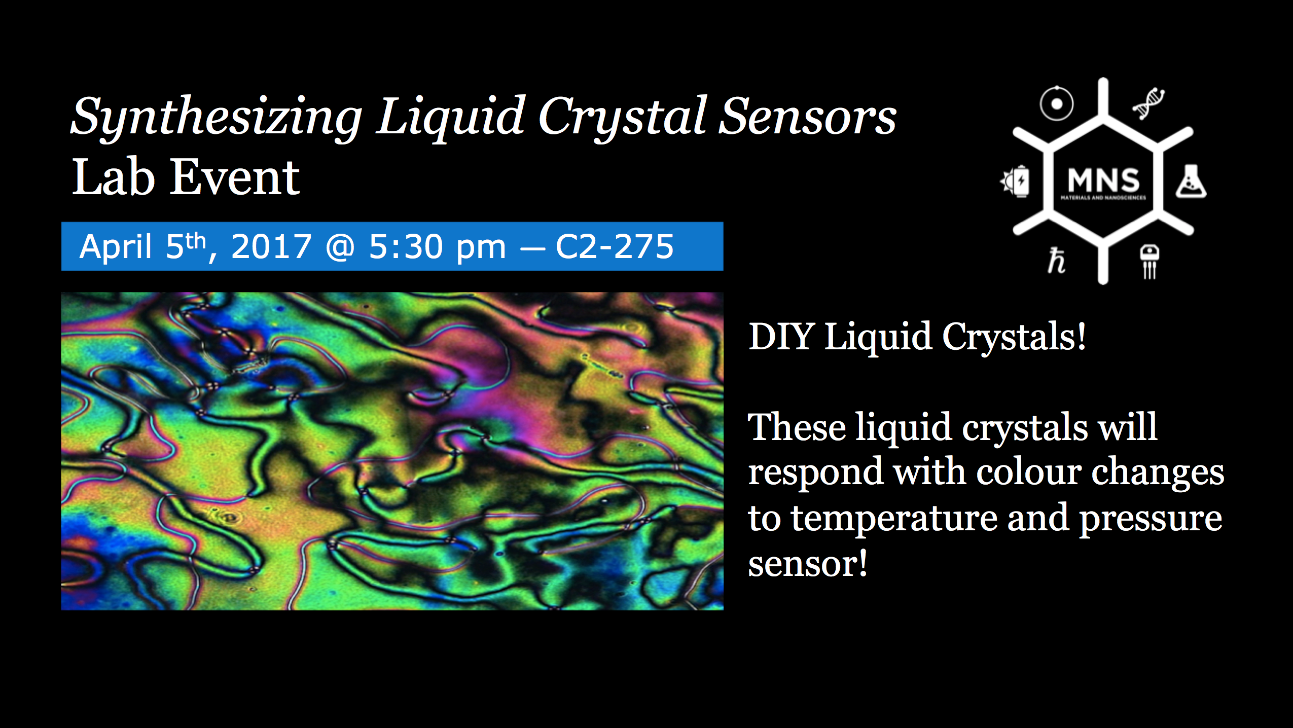 Synthesizing Liquid Crystal Sensors Lab Event Slide