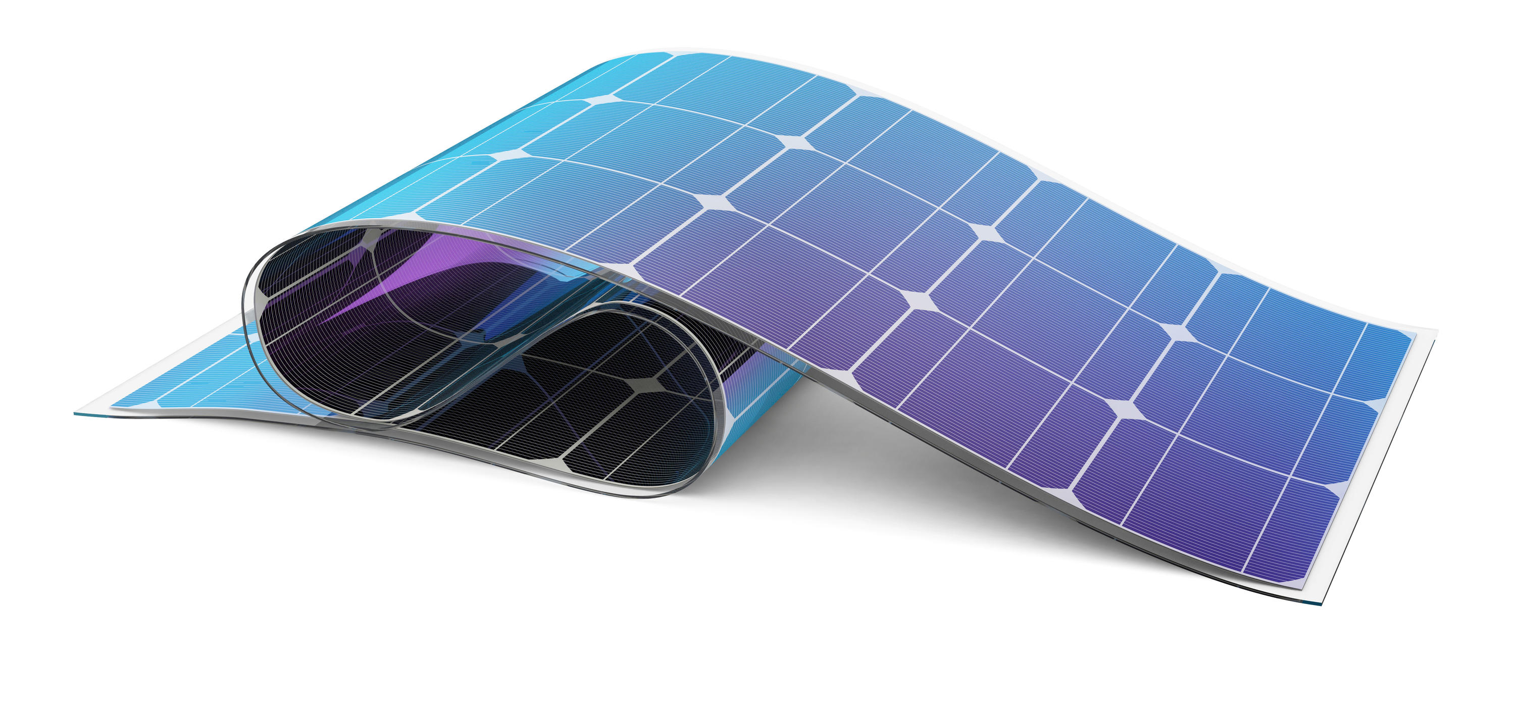 An illustration of a plastic, flexible solar cell.