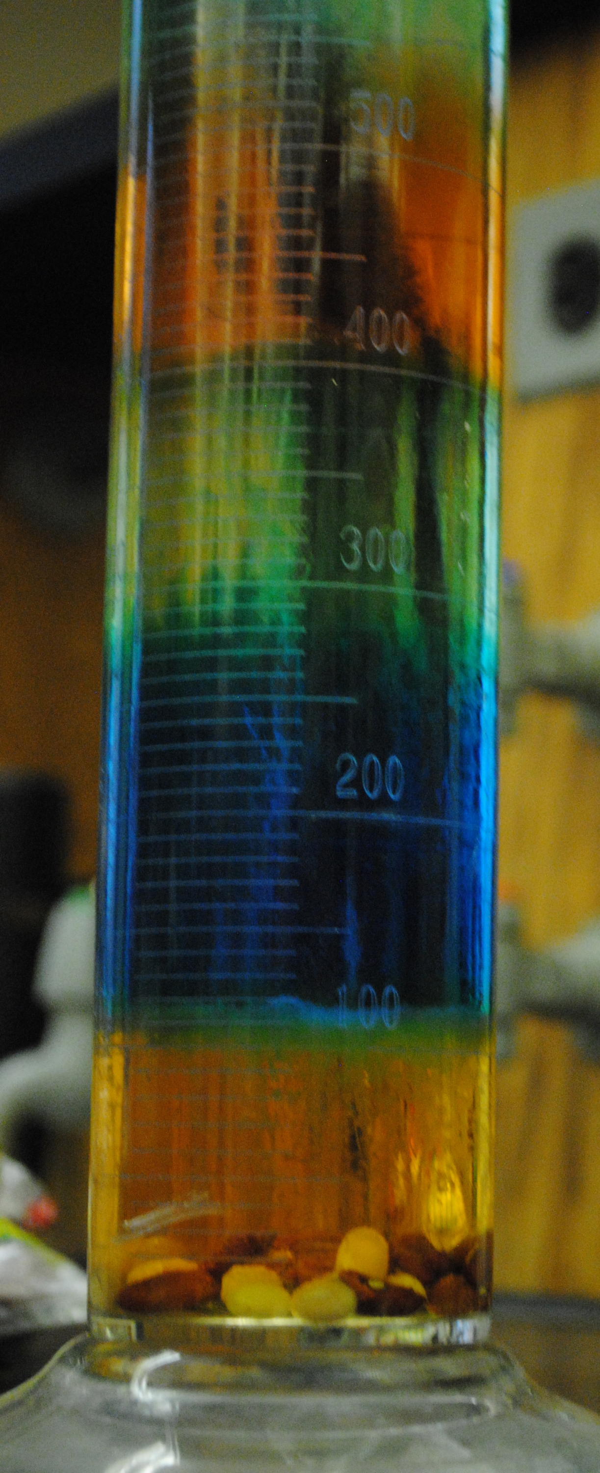 rainbow of fluids in graduated cyliner