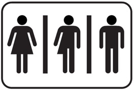 Female, male and binary stick people