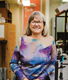 Portrait of Donna Stickland in a lab
