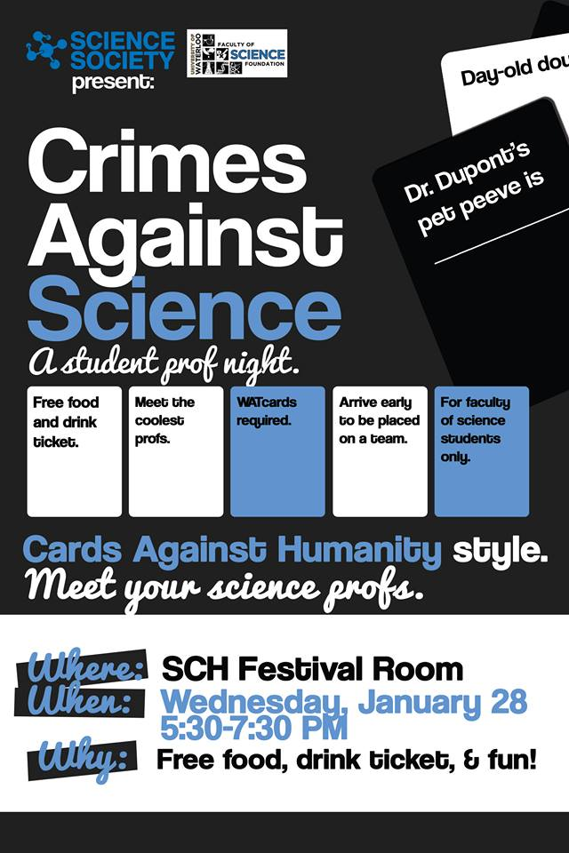 Cards against science student prof night poster