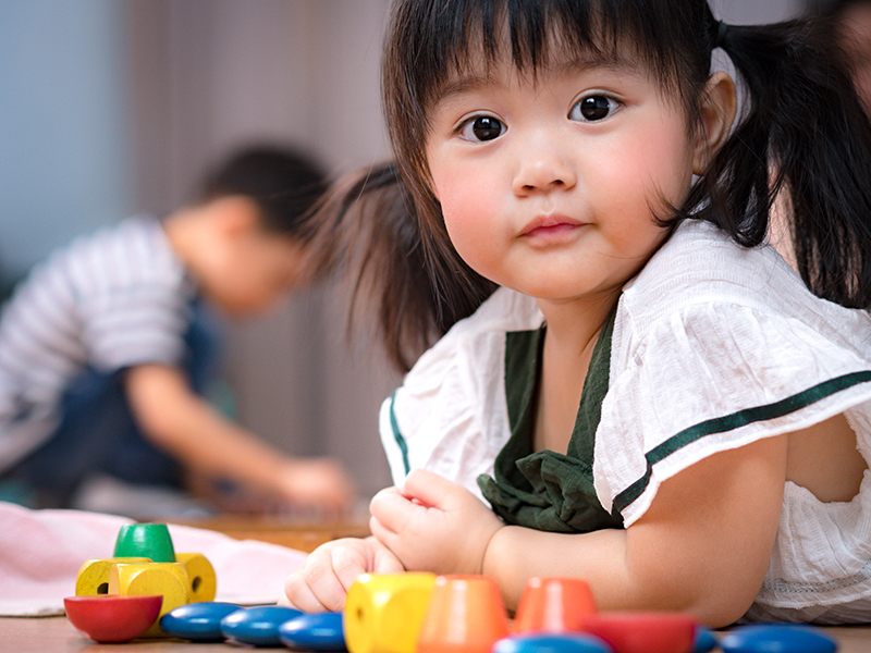 Small asian girl with pigtails looks into camera.