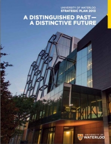 "Cover of Waterloo's Strategic Plan, "" A Distinguished Past, a Distinctive Future"""