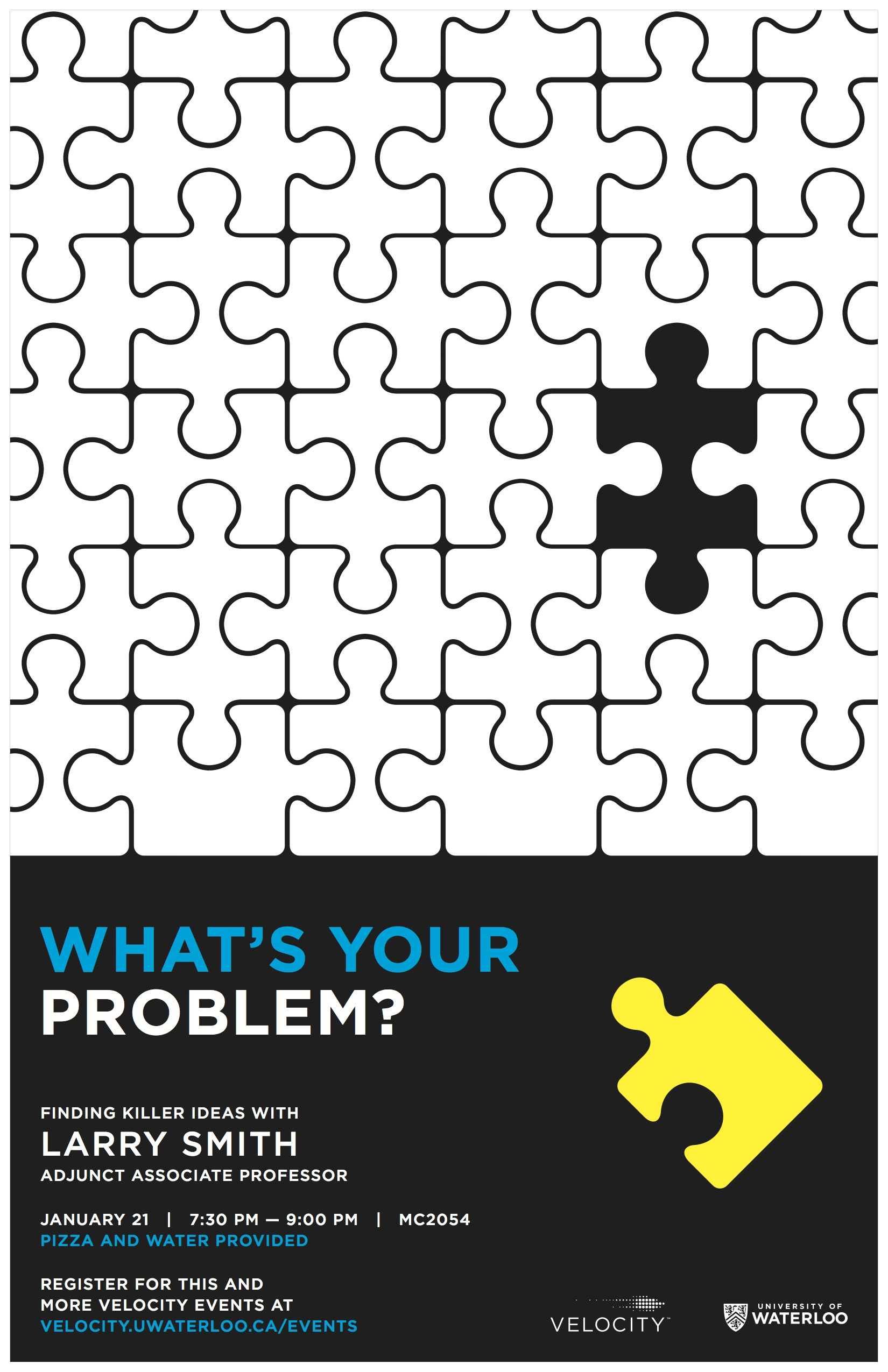"""Velocity """"Whats your problem"""" talk poster"""