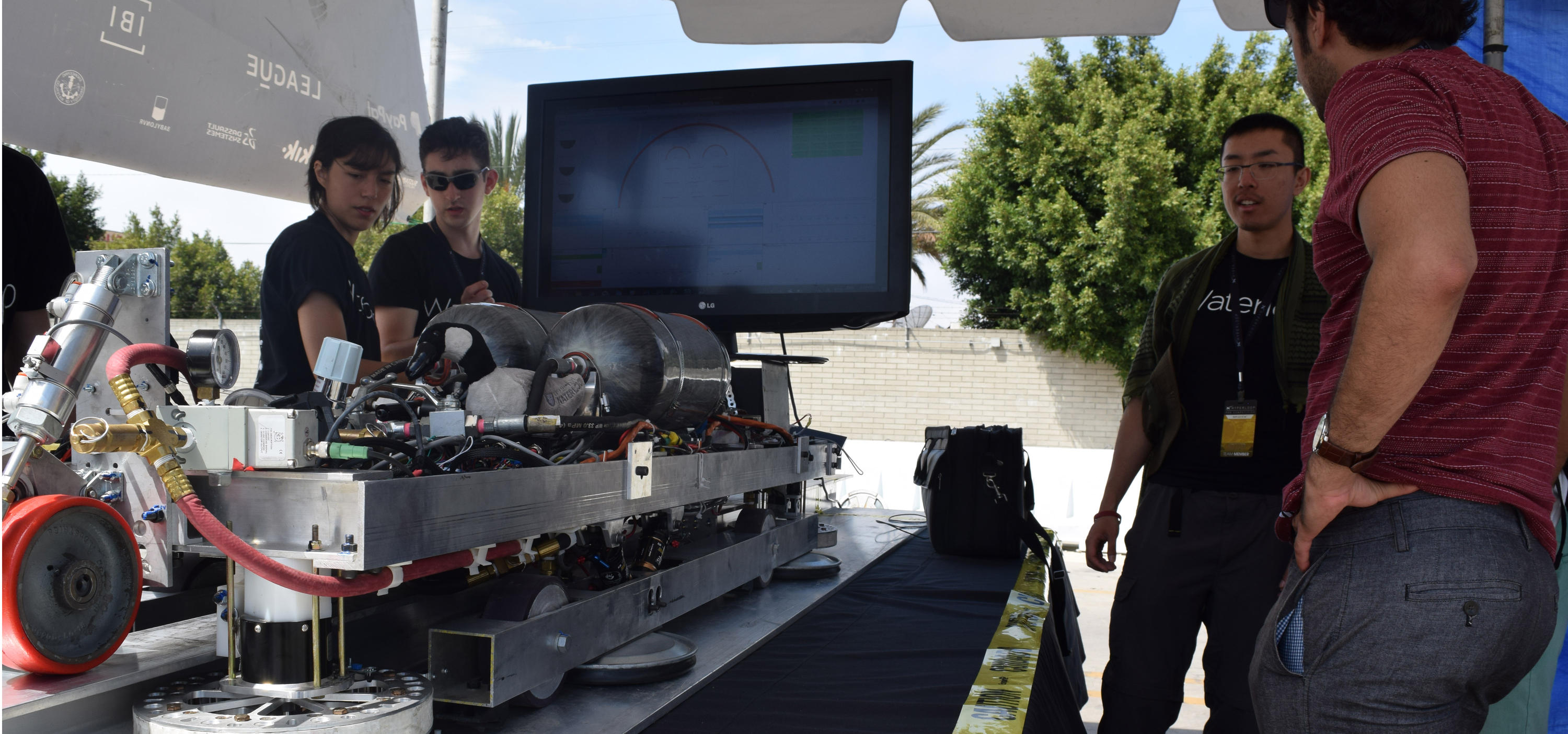 Waterloop students at Hyperloop competition last August.