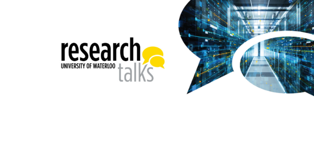 University of Waterloo Research Talks with an image of a computer server room in a thought bubble.