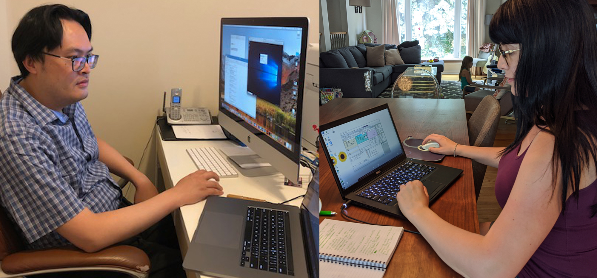 Two images. Left: Prof. William Wong looking at desktop computer. Right: Female student working on a laptop.