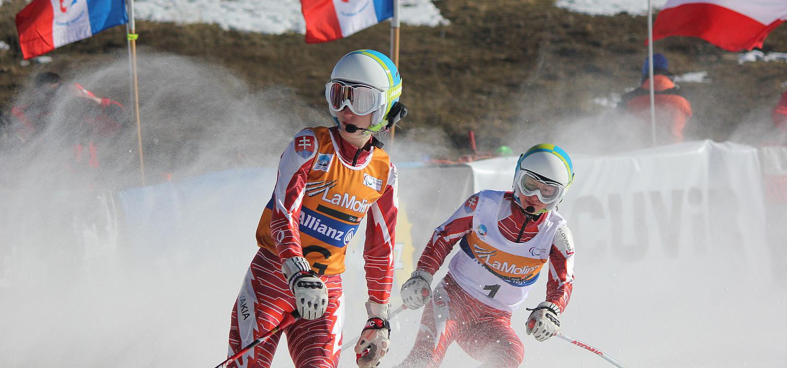 The women's visually impaired Super-G event, 2013 IPC Alpine World Championships. Henrieta Farkasova guided by Natalia Subtrova.