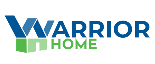 Words Warrior Home in blue and green with the W and H looking like a house