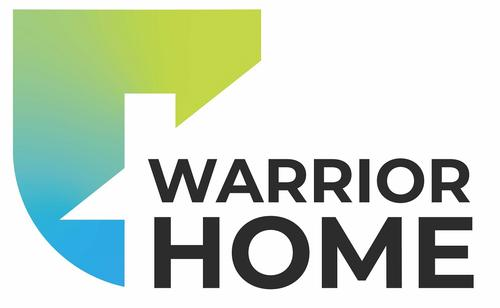 Warrior home logo in blues & greems