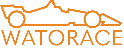 Wat O Race logo with outline of orange race car